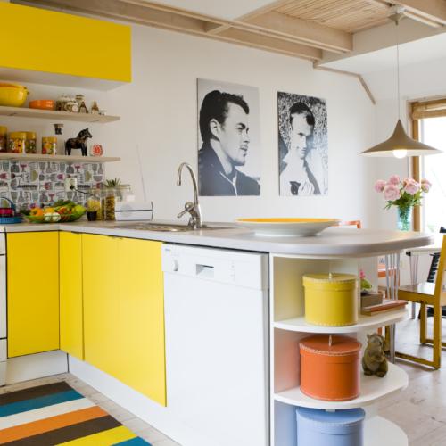 gult kök randig matta svartvita porträtt