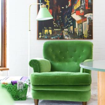 grön sammetsfåtölj tavla retro
