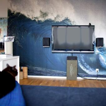 vägg med vågor fototapet vardagsrum katt