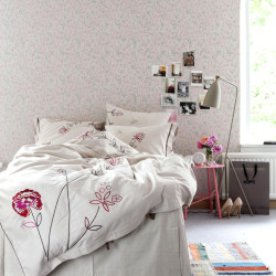 tapet vit rosa sovrum växter fåglar