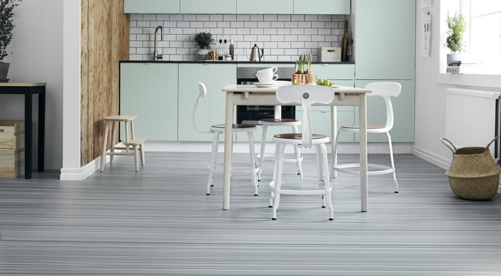 mint kök design randigt golv